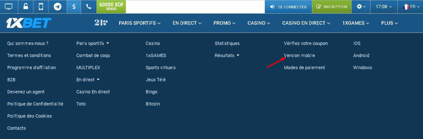 1xBet version mobile